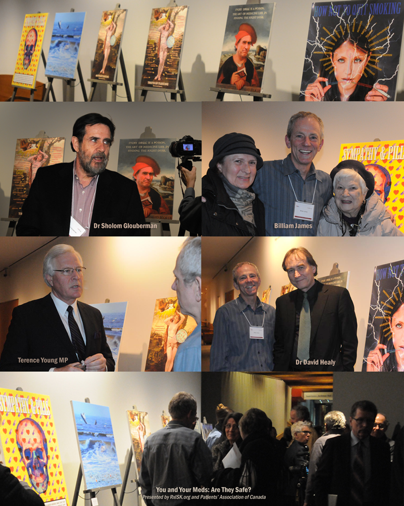 David Healy, Terence Young, Sholom Glouberman, and Billiam James at 'You And Your Meds', RxISK at AGO. Photos Franke James