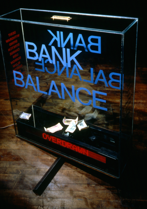 Bank Balance, created by D. Nile (a.k.a. Billiam James) for White Water Gallery exhibition Teeter Totters